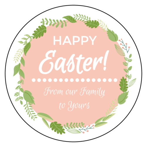 Florid Easter Circle Labels pre-designed label template for OL375