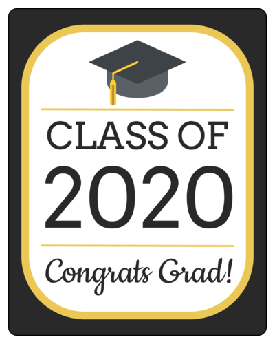 """Congrats Grad!"" Bottle Labels (Round Corner Rectangle)"