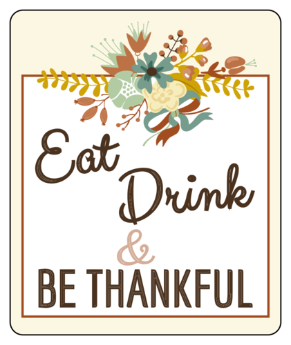 """Eat, Drink, and Be Thankful"" Thanksgiving Wine Bottle Labels pre-designed label template for OL150"