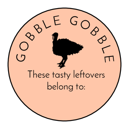 """Gobble Gobble"" Thanksgiving Leftover Labels pre-designed label template for OL914"
