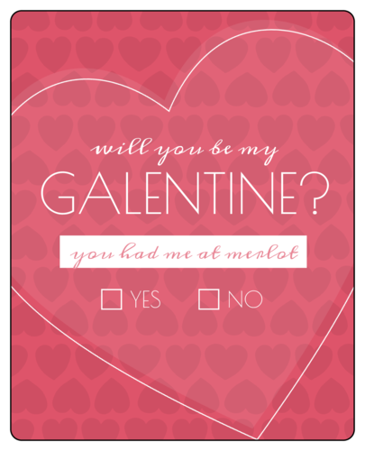 Galentine's/Valentine's Day Wine Bottle Label pre-designed label template for OL475