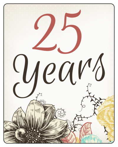 "OL162 - 3.75"" x 4.75"" - Floral Anniversary Wine Bottle Labels"