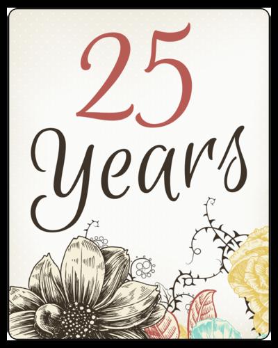 "OL162 - 3.75"" x 4.75"" - Floral Anniversary Wine Bottle Labels"