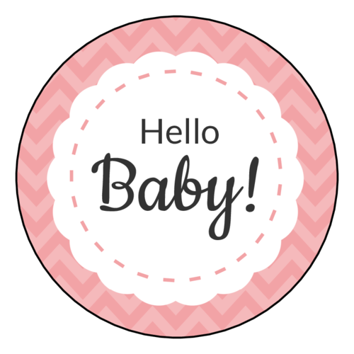 "OL317 - 7"" Circle - ""Hello Baby!"" Circle Labels"