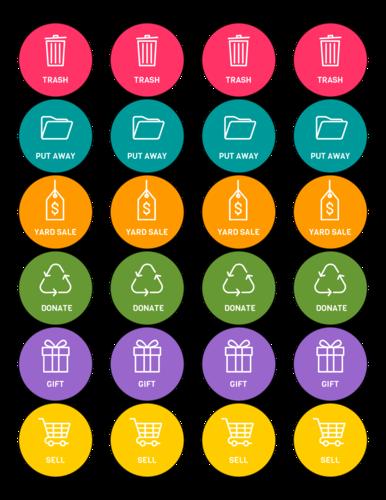 """OL325 - 1.67"""" Circle - Color Coded Organization Circle Labels"""