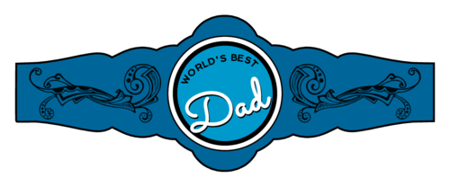 "OL380 - 3.25"" x 1.2049"" - World's Best Dad Father's Day Cigar Label"