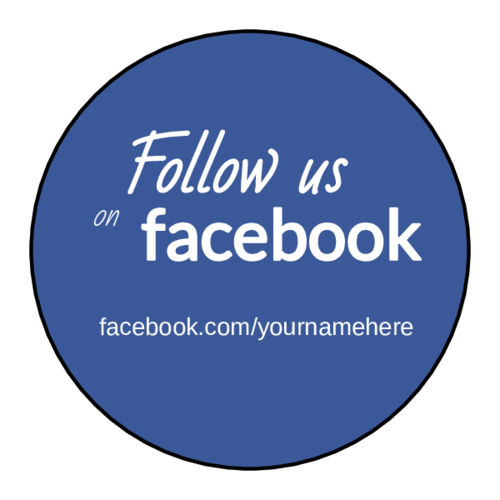 """Follow Us on Facebook"" Circle Labels pre-designed label template for OL914"