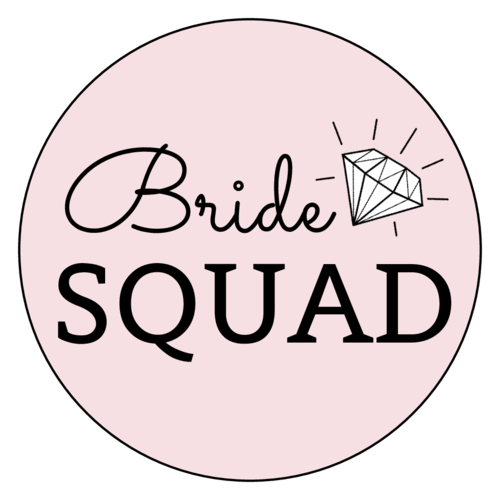 """Bride Squad"" Circle Labels pre-designed label template for OL2279"