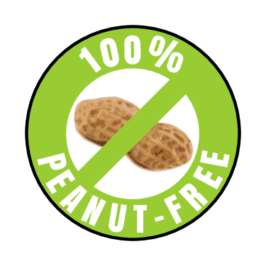 """""""100% Peanut-Free"""" Circle Labels pre-designed label template for OL1025"""