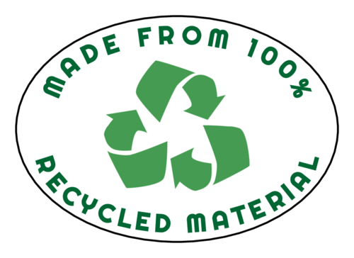 """Made From 100% Recycled Material"" Oval Labels pre-designed label template for OL885"