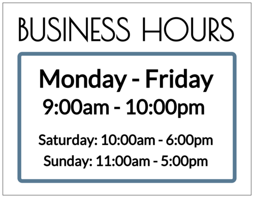 "OL175 - 8.5"" x 11"" - Business Hours Full Sheet Labels"