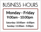 Business Hours Full Sheet Labels