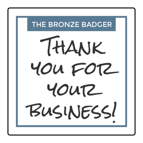 """Thank You for Your Business!"" Square Labels pre-designed label template for OL2679"