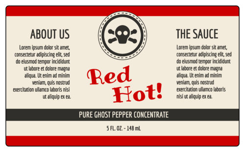 "OL6675 - 5"" x 3"" - Customizable Hot Sauce Bottle Labels"