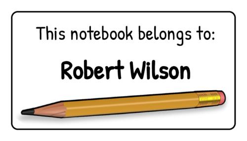 """This Notebook Belongs To"" Classroom Labels pre-designed label template for OL160"