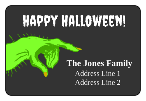 Scary Hand Halloween Address Labels pre-designed label template for OL996