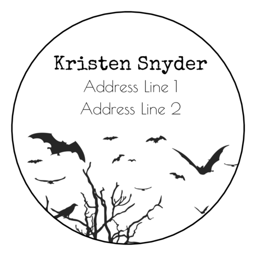 Flying bats address label printable for Halloween