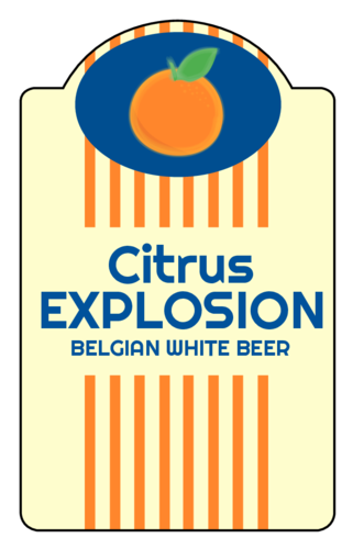 """Citrus Explosion"" Beer Bottle Labels pre-designed label template for OL1909"