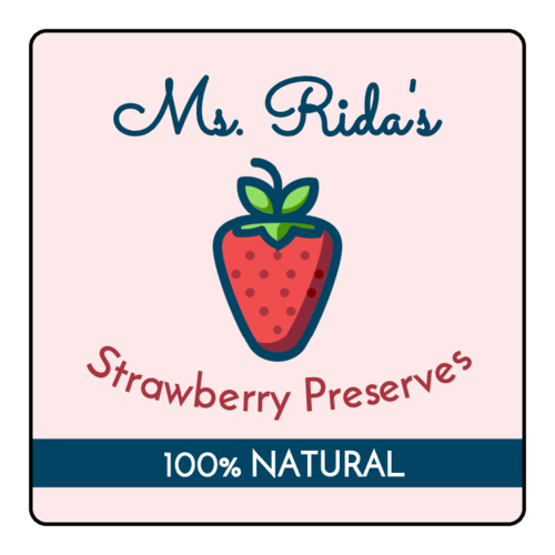 Strawberry Preserves Jar Labels pre-designed label template for OL330