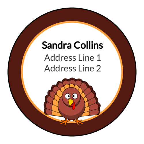 "OL2682 - 2"" Circle - Thanksgiving Turkey Address Labels"