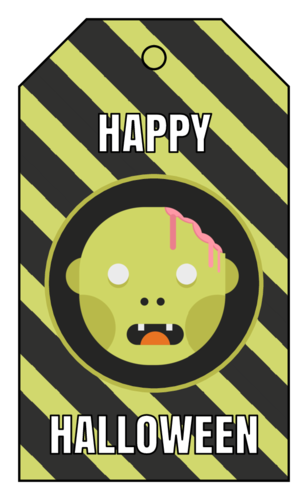 "OL3487 - 1.75"" x 3"" - ""Happy Halloween"" Zombie Gift Tags"