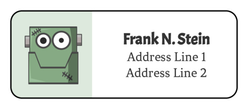 Free printable Frankenstein label template for address envelopes during October