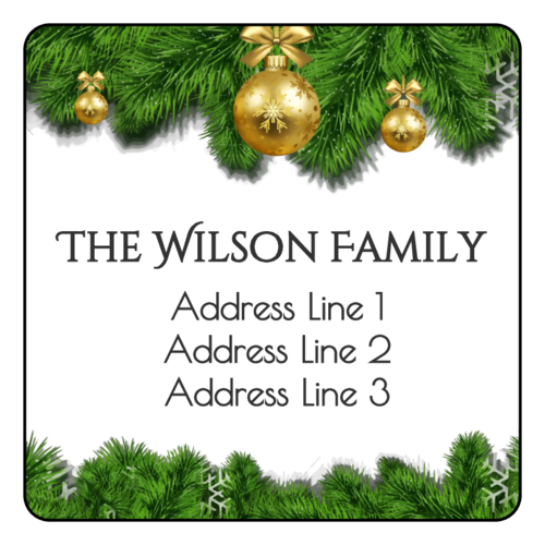 "OL291 - 2.5"" x 2.5"" Square - Elegant Christmas Address Labels"