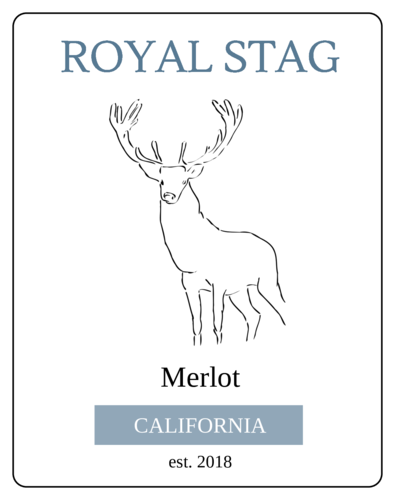 """Royal Stag"" Wine Bottle Labels pre-designed label template for OL2547"