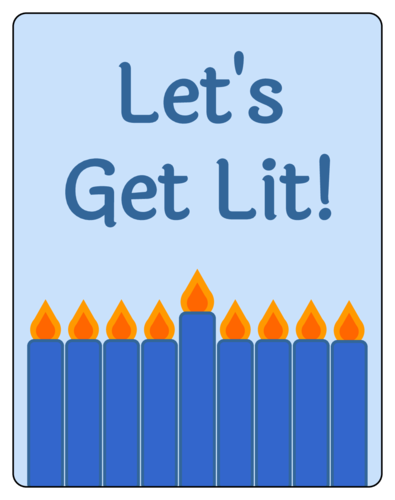 """Let's Get Lit!"" Hanukkah Wine Bottle Labels pre-designed label template for OL2547"