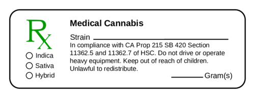 "OL100 - 4"" x 1.33"" - Medical Marijuana Prescription Labels"