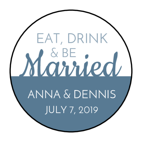 """Eat, Drink, & Be Married"" Wedding Favor Labels (Circle)"