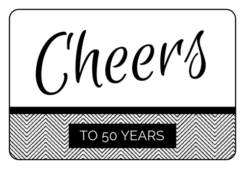 """Cheers!"" Anniversary Champagne Bottle Labels (Round Corner Rectangle)"