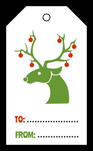 """OL3487 - 1.75"""" x 3"""" - Festive Reindeer Cardstock Gift Tag"""