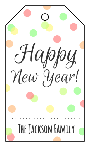 "OL3487 - 1.75"" x 3"" - Confetti ""Happy New Year"" Cardstock Gift Tag"