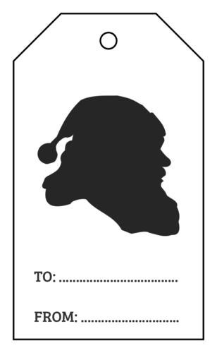 "OL3487 - 1.75"" x 3"" - Santa Silhouette Cardstock Gift Tags"