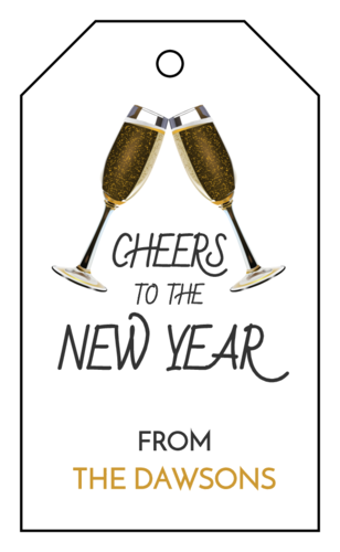 "OL3487 - 1.75"" x 3"" - Champagne Cheers New Year's Cardstock Gift Tags"