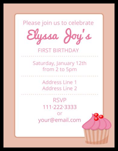 """OL423 - 4.25"""" x 5.5""""  - Pink Birthday Cardstock Invite"""