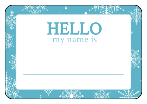"OL996 - 3"" x 2"" - Winter Wonderland Name Tag Labels"
