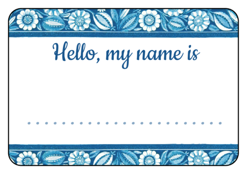 "OL500 - 4"" x 3"" - Blue Floral Name Tag Labels"