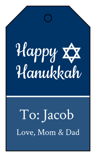 "OL3487 - 1.75"" x 3"" - Traditional Hanukkah Cardstock Gift Tags"