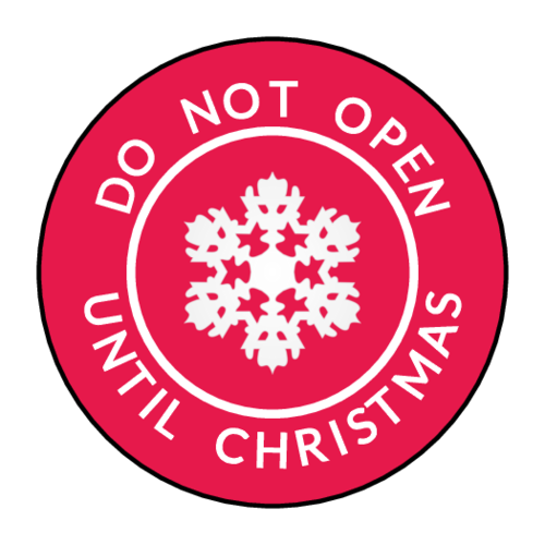 """Do Not Open Until Christmas"" Circle Labels pre-designed label template for OL2088"