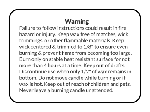 "OL131 - 8"" x 5"" - Candle Warning Labels"