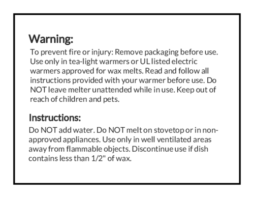 Wax Melt Warning Labels (Square Corner Rectangle)