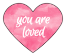 """You Are Loved"" Watercolor Heart Labels"