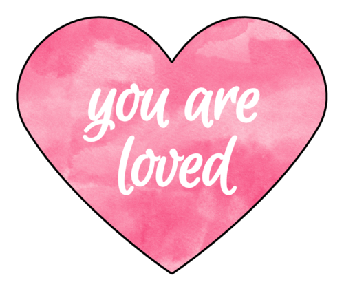 """You Are Loved"" Watercolor Heart Labels pre-designed label template for OL196"