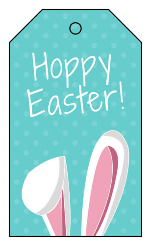 """Hoppy Easter!"" Easter Cardstock Gift Tags pre-designed label template for OL3487"