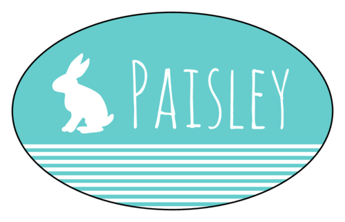Easter Bunny Gift Tag Labels (Oval)