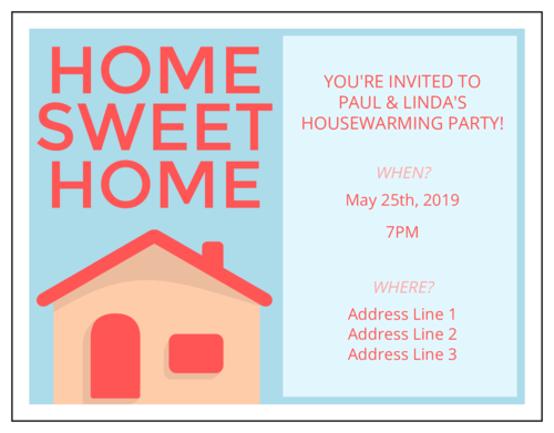 "OL423 - 4.25"" x 5.5""  - Housewarming Party Invitation"