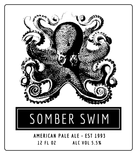 Octopus Beer Bottle Labels pre-designed label template for OL3846