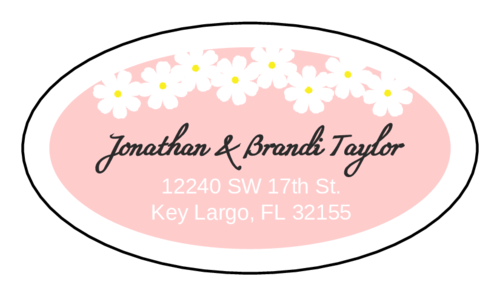"OL9830 - 2.5"" x 1.375"" Oval - Spring Flowers Address Label"